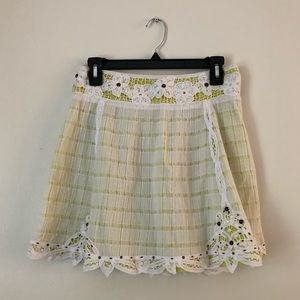 Free People White Cotton Lace Skirt with Beading